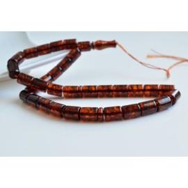 Misbaha Islam Rosary of 33 Genuine Baltic Amber Cognac Color Beads 29.5 g Handmade 12 x 9 mm Barrel Amber