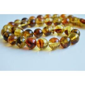 Baltic Orange Amber Tespih Green Color Misbaha 33 Beads 14 mm 58 g