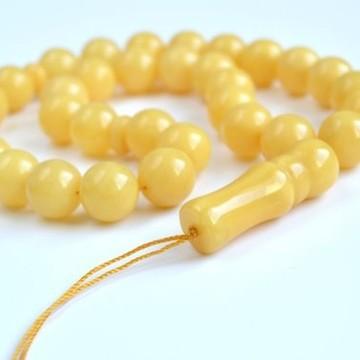 Baltic Amber Tespih Butterscotch Egg Yolk Color Misbaha 33 Beads 14 mm 42.5 g