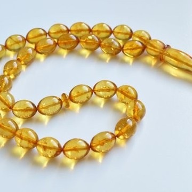 Misbaha Prayer - Baltic Amber Beads 31 grams olive beads light tea مسبحة