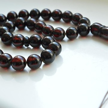 Cherry Baltic Amber Misbaha Prayer, Deep Red Color Baltic Amber Islamic Prayer, Tespih Beads 25.5 grams 11 mm rosary