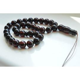 Cherry Baltic Amber Misbaha Prayer, Deep Red Color Baltic Amber Islamic Prayer, Tespih Beads 25.5 grams 11 mm rosary