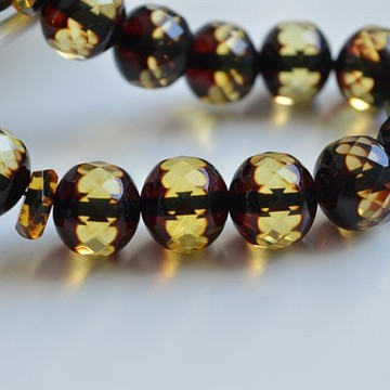 Faceted Handmade Baltic Amber Tespih Cherry Yellow Color Misbaha 33 Beads 12 x 11 mm 32.5 g