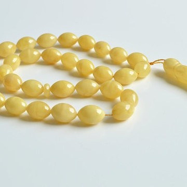 Butterscotch White Amber Islam Rosary, Olives Shape Baltic Ambe