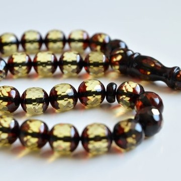 Faceted Handmade Baltic Amber Tespih Cherry Yellow Color Misbaha 33 Beads