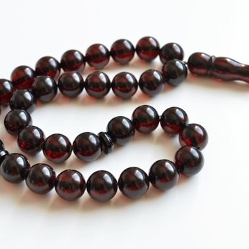Cherry Baltic Amber Misbaha Prayer, Deep Red Color Baltic Amber Islamic Prayer