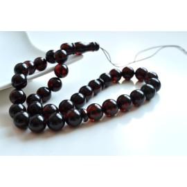 Cherry Baltic Amber Misbaha Prayer, Deep Red Color Baltic Amber Islamic Prayer