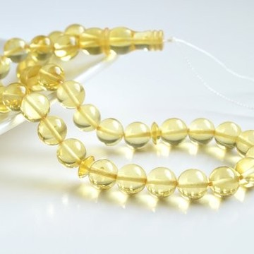 Natural Baltic Amber 33 Beads Misbaha Prayer, Light Lemon Baltic Amber Tespih