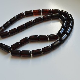 Red Cherry color Baltic Amber Islamic Prayer Beads 68 grams 19 x 12 mm rosary Muslim Rosary مسبحة, Barrel Beads, 33 beads