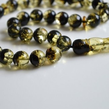Baltic Amber Tespih Green Color Misbaha 33 Beads 12 mm 37 g Handmade