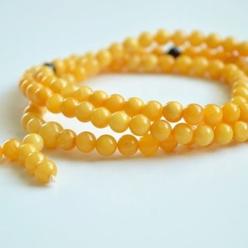 Mila Mala Rosary 6 mm Egg Yolk Butterscotch Buddhist Prayer Beads Baltic Amber