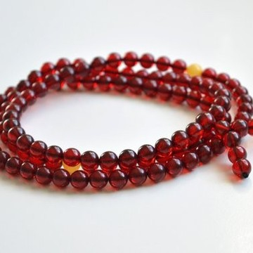 Red Amber 108 Prayer Beads Rosary 8.5 mm round beads Bracelet Mila Mālā Baltic Amber 40 g