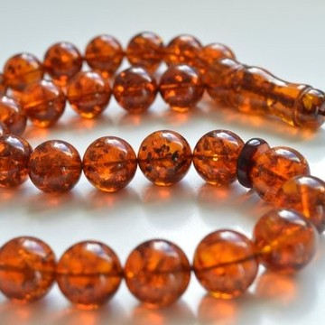 Baltic Amber Tespih Cognac With Shell Color Misbaha 33 Beads 15 mm 67.5 g Handmade