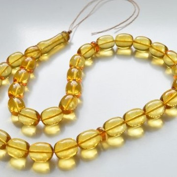 33 Beads Light Lemon Baltic Amber Islamic Misbaha Worry Beads 63 g Tasbih Rosary