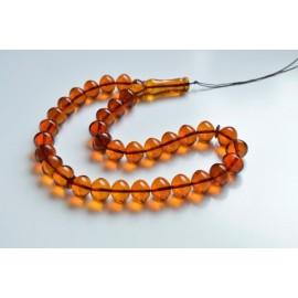 Oval Baltic Amber Beads Islamic Koran Prayer Beads 33 Amber Beads Cognac Color