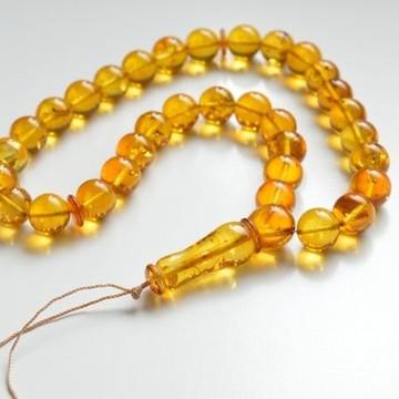 Tasbih Rosary of Baltic Amber Massive 12 mm Beads 37 g Yellow Amber Islamic Misbaha