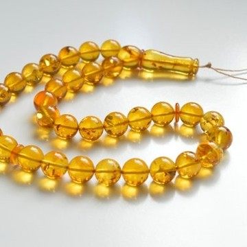 Tasbih Rosary of Baltic Amber Massive 12 mm Beads 37 g Yellow Amber Islamic Misbaha