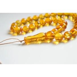 Misbaha Islam Rosary of Genuine Baltic Amber Cognac Color Beads 56 g Handmade