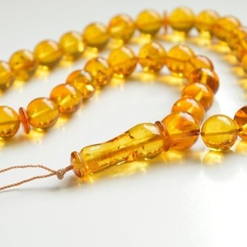 Misbaha Islam Rosary of Genuine Baltic Amber Cognac Color Beads 56 g Handmade
