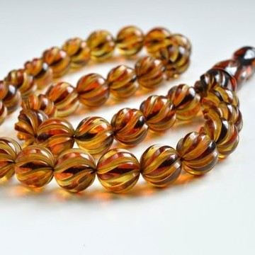 Handcarved Genuine Baltic Amber Misbaha Prayer, Tea Color Natural Baltic Amber Spiral Pattern Rosary 103 grams