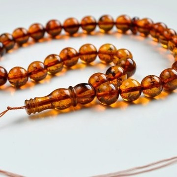 Natural Cognac Baltic Amber Tespih, Cognac With Inclusions, Tea Orange Color Misbaha 33 Beads 10 mm 20 g