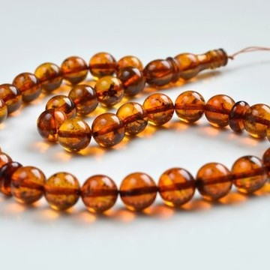 Natural Cognac Baltic Amber Tespih, Cognac With Inclusions, Tea Orange Color Misbaha 33 Beads 10 mm 20 g