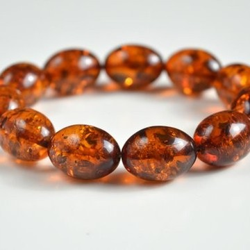 Natural Baltic Amber Beaded Bracelet, Orange Amber Polished Olive-shaped