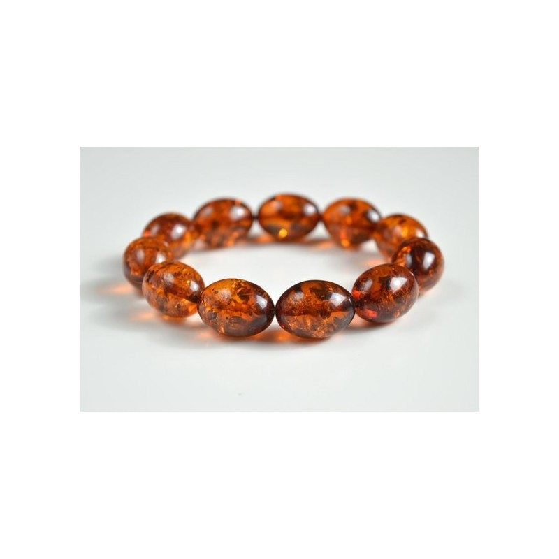 Natural Baltic Amber Beaded Bracelet, Orange Amber Polished Olive-shaped