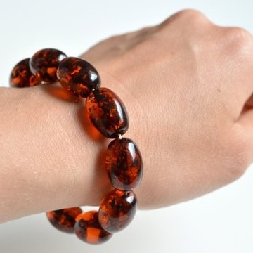 Natural Baltic Amber Beaded Bracelet, Orange Amber Polished Round Beads