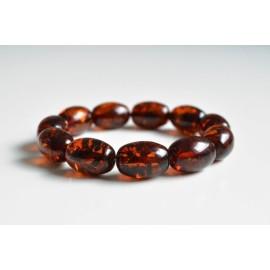 Natural Baltic Amber Beaded Bracelet, Orange Amber Polished Round Beads
