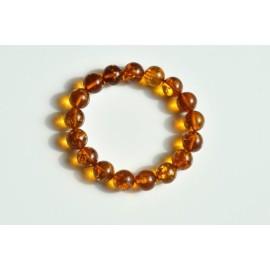 image 0 image 1 image 2 image 3 image 4 Natural Baltic Amber Beaded Bracelet, 12.5 mm Orange Amber Polished Round Beads