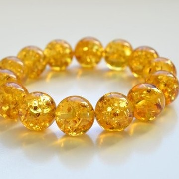 Natural Baltic Amber Beaded Bracelet, 15.5 mm Orange Amber