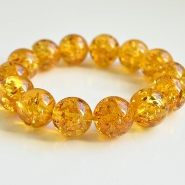 Natural Baltic Amber Beaded Bracelet, 15.5 mm Orange Amber