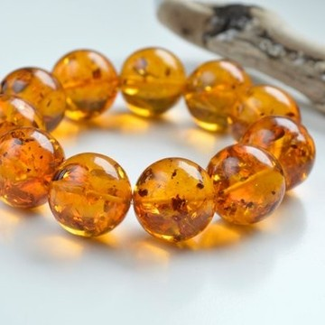Cognac Baltic Amber Bracelet, Natural Polished Amber Bracelet, Summer Safari