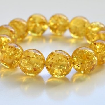 Natural Baltic Amber Beaded Bracelet, 18 mm Orange Amber