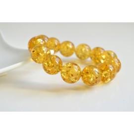 Natural Baltic Amber Beaded Bracelet, 18 mm Orange Amber