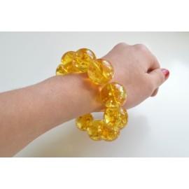 Natural Baltic Amber Beaded Bracelet, 21.5 mm Orange Amber Polished Round Beads