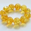 Natural Baltic Amber Beaded Bracelet, 21.5 mm Orange Amber Polished Round Beads
