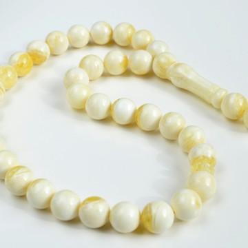 White Amber Round Beads, Ivory White Color Baltic Amber Islamic Prayer Beads 33 Worry Beads 47 g 13 mm
