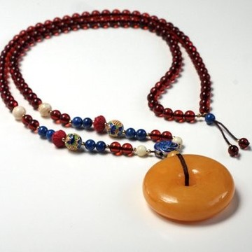 Unique Baltic Amber Necklace with Butterscotch Amber Donut Pendant and Cognac Amber Polished Beads