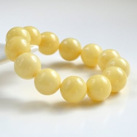 Milky White Baltic Amber Bracelet, Woman, White Marble Amber Beaded Bracelet, 17 mm, Massive Stretch Baltic Amber Bracelet