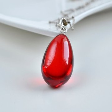 Royal Red Ruby Amber Pendant with Sterling Silver, Amber Jewelry, Exclusive Amber Pendant, Drop Shape Pendant