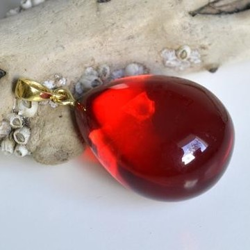 Royal Red Ruby Amber Pendant, Gold- plated 925 Silver, Jewelry, Exclusive Amber Pendant, Drop Shape Pendant