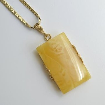 Butterscotch Baltic Amber Pendant, Gold-plated 925 Silver Necklace, Genuine Amber Necklace, Massive Amber Choker, 波罗的海琥珀