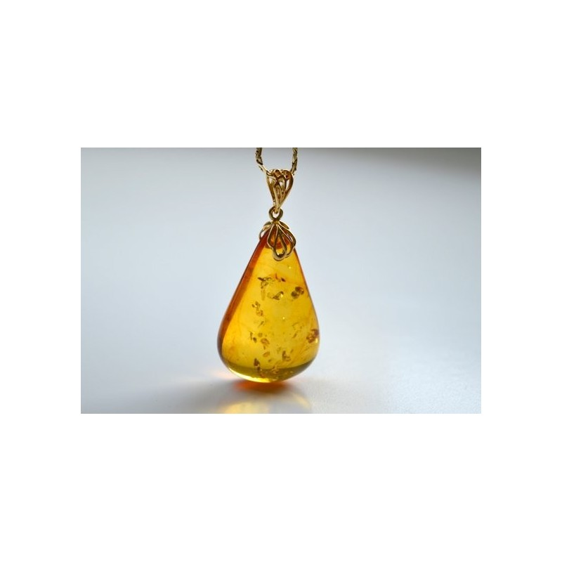 Natural Baltic Amber Pendant, Gold-plated 925 Silver Necklace, Genuine Amber Necklace, Massive Amber Christmas Charm, 波罗的海琥珀