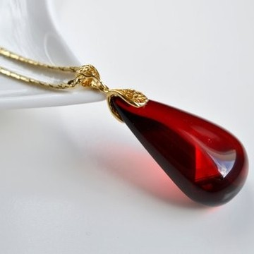 Royal Red Ruby Amber Pendant, Gold- plated 925 Silver, Jewelry, Exclusive Amber Pendant, Drop Shape Pendant,