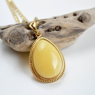Royal White Natural Baltic Amber Pendant in Art Nouveau Style, White Amber Pendant, Gold- plated 925 Silver Jewelry