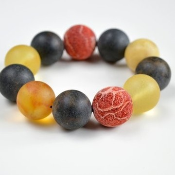 Natural Amber Bracelet with Massive Coral Beads, Multicolored Baltic Amber Beaded Bracelet, Mediterranean Jewelry
