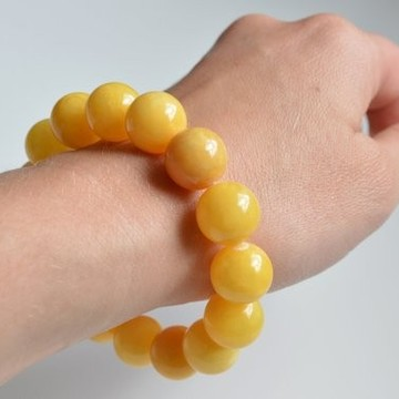 Butterscotch Amber Bracelet 14.5 mm, Egg Yolk Amber Bracelet, Massive Amber Bracelet, Yellow Summer Fashion Jewelry
