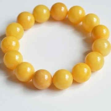 Butterscotch Amber Bracelet 14 mm, Egg Yolk Amber Bracelet, Massive Amber Bracelet, Yellow Summer Fashion Jewelry